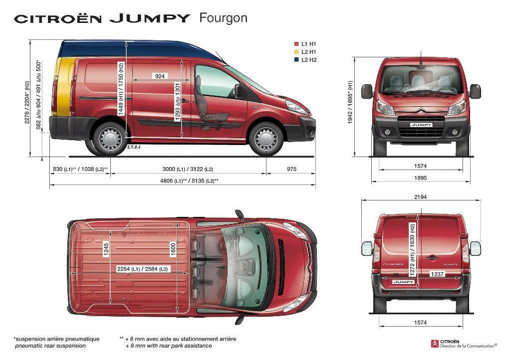 Citroen Jumpy Van dimensiones